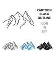 mountain range icon in cartoon style isolated on vector image