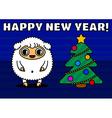 Sheep with christmas tree vector image