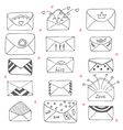 Set of hand drawn mailing envelopes Communication vector image vector image