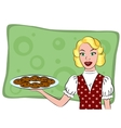 Retro housewife holding a cookie vector image