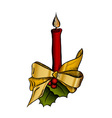 candle with ribbon vector image vector image