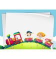 Paper design with children on the train vector image vector image