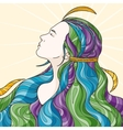 Profile of a beautiful girl with long haughty vector image