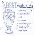 Vanila milkshake recipe on a notebook page vector image