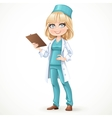 Beautiful girl doctor in surgeon costume and vector image