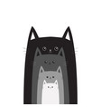 black gray cat head cats in a row different size vector image