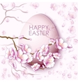 Easter egg and sakura flowers vector image