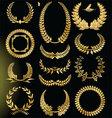 Golden Laurel wreath - set vector image