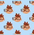 happy boy head child seamless pattern young male vector image
