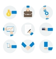 Icons hand businessman with different objects vector image