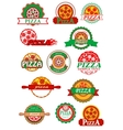 Italian pizza banners emblems and labels set vector image