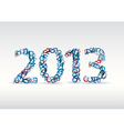 blue New Year card 2013 made from numbers vector image vector image