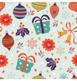 Christmas background with balls bells flowers vector image vector image