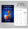 two-sided calendar 2016 with deer toy and gift box vector image