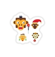 Set of paper stickers on white background monkey vector image