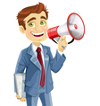 Businessman with tablet pc speaks in megaphone vector image