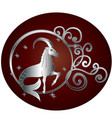 capricorn zodiac sign in circle frame vector image