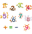 Collection of animals number for children vector image