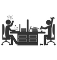 Flat office icon with angry workers isolated on vector image
