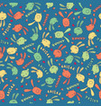 pattern with cute bunny or rabbit in blue color vector image