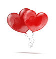Two 3d Red Heart Balloons vector image