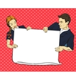 School boy and girl hold blank white paper poster vector image