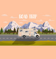 flat web banner on the theme of road trip vector image