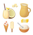 fresh organic milk products set with cheese vector image