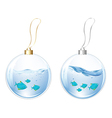 New Year Balls With Blue Fishes In Water vector image