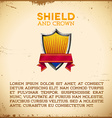 Aged card with shield label with ribbon vector image