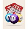 Bingo balls and red cards with shadow vector image