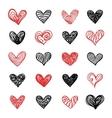 Doodle Hand Drawn Valentine Hearts Set vector image