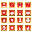 halloween icons set red vector image