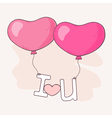 Hand drawn heart balloons holding letters vector image