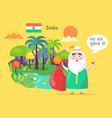 indian santa claus greets with happy new year vector image
