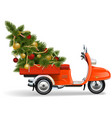 orange scooters with christmas tree vector image