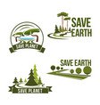 icons set for save earth ecology protection vector image