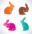 bunny silhouette collection vector image