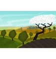 spring landscape with green fields vector image vector image