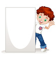 Little boy holding blank sign vector image