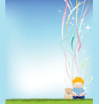 boy reading magic vector image