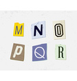 Colorful Newspaper Cut Letters Set vector image