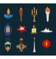 Flat style candles and flames collection vector image