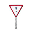 hazard warning attention sign with exclamation vector image