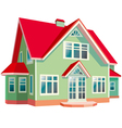 House with red roof on white background vector image