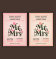Mr and Mrs title with flower wedding invitations vector image