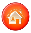 Wooden house covered with snow icon flat style vector image