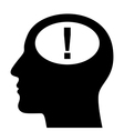 Silhouette of head with exclamation mark vector image