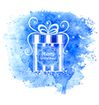 Merry Christmas gift box Greeting card vector image
