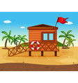 A lifeguards house vector image vector image